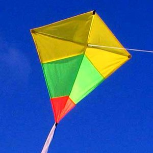 Australian made diamond tricolour kids kite in flight