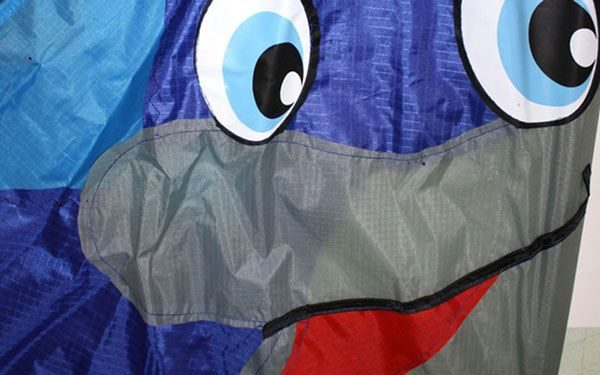 close up showing aplique detail on the Dolphin kite.