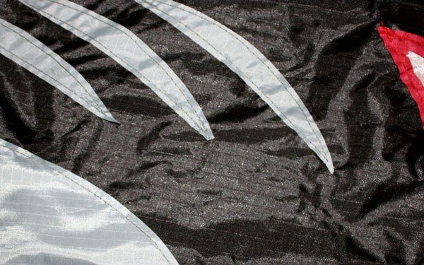 Shark single string kite close up showing stitching detail