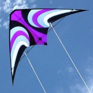 Offshore carbon framed high performance kite in flight