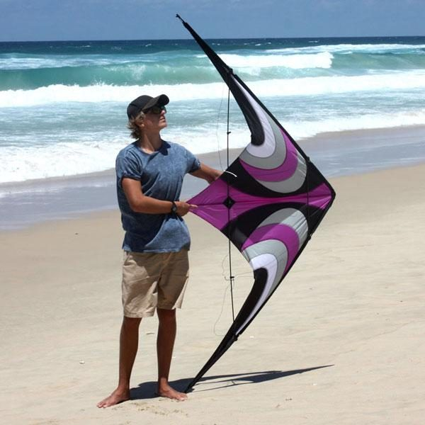 Offshore high performance stunt kite against teenager to show its 2.1m size