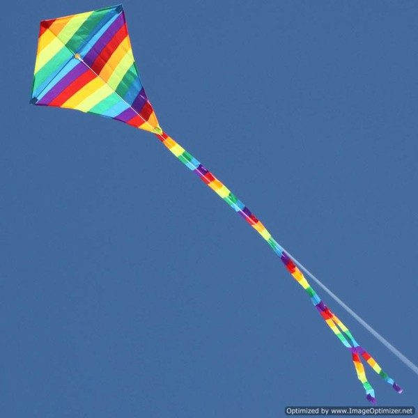 small rainbow diamond kids kite in long distance flying