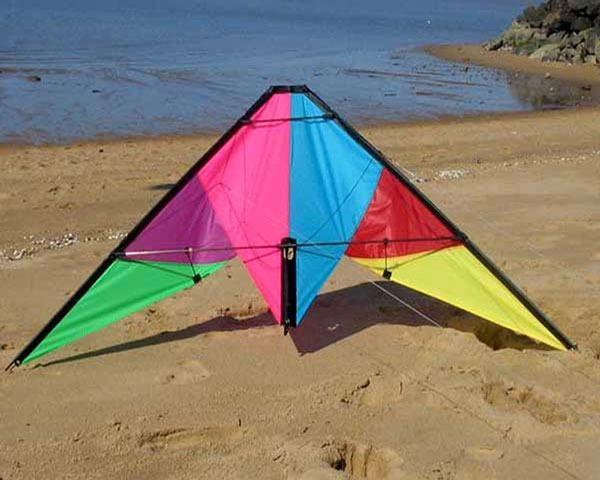 Wind Dancer carbon framed stunt kite on the sand at Trinity Beach
