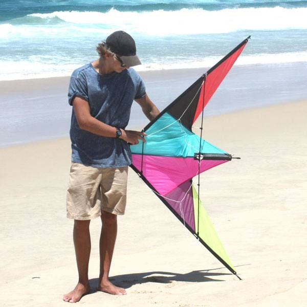 Wind Dancer dual control kite against teenagers to show size