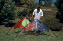 Bob holding 2 Elite stunt kites