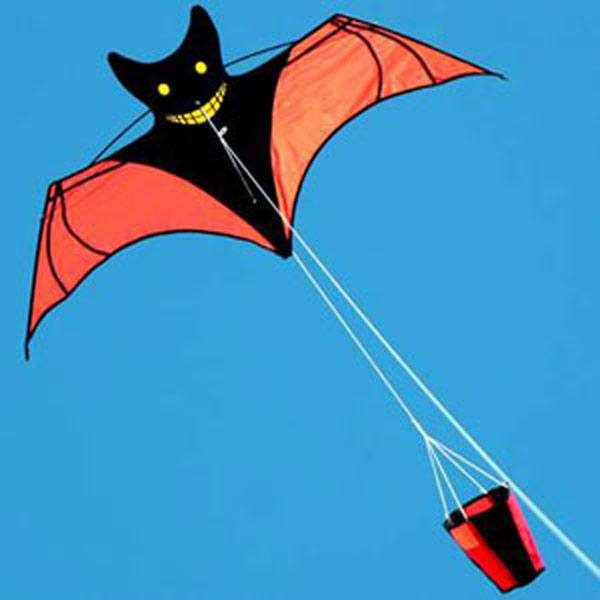 Bat kite with drogue tail in flight