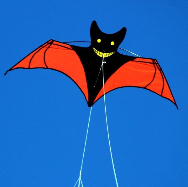 Bat shaped kite for children flying in the sky