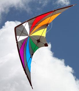 Backdraft high performance dual control stunt kite in the sky