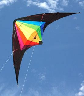 Black Widow dual control stunt kite in flight