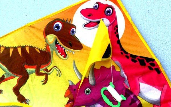 Dinosaur kite close up showing 3 dinosaur