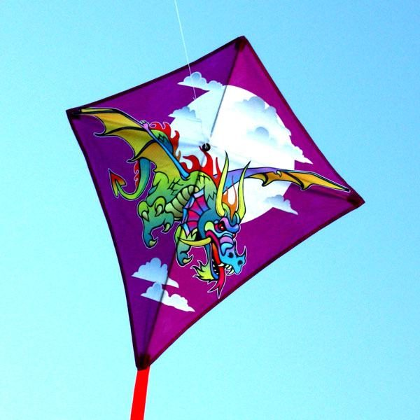 Diamond kids kite with dragon on a dark n stormy night