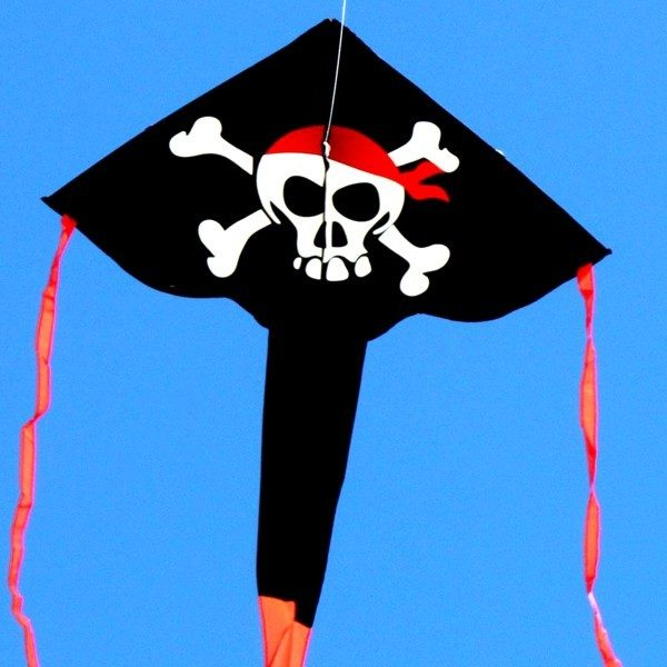 delta kite with printed Pirate design and long tail