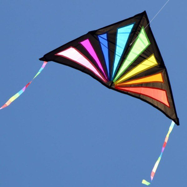Sunrise delta single string kite showing stained glass effect in the sky with the sun behind it