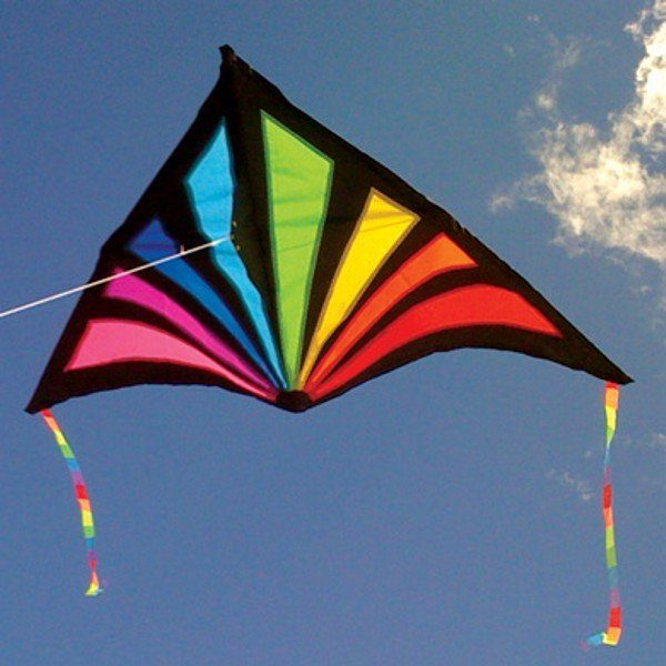 delta kite with rainbow pattern on black outline