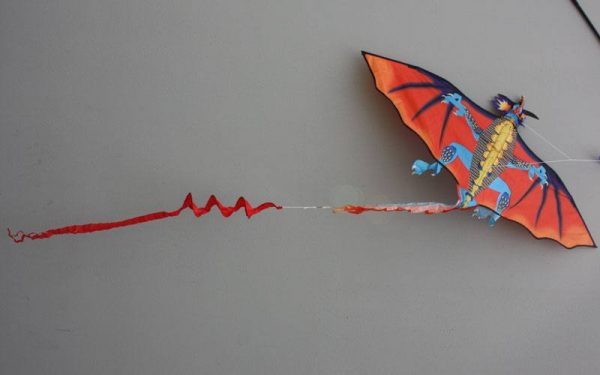 Single line kids kite the Fire dragon kite showing wing design and tail detailTail and wing detail