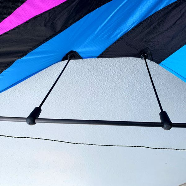Double whisker assembly on high performance Fluid stunt kite from Leading Edge Kites in Australia
