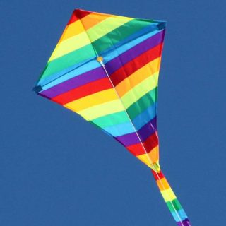 Rainbow Diamond kids single string kite