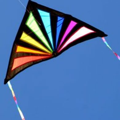 Sunrise delta kite with rainbow stained glass look